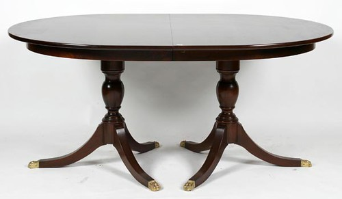 Henkel Harris Mahogany Double Pedestal Dining Table w/ 4 Leaves ($1,176.00)