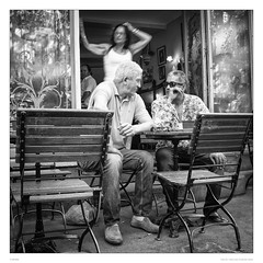Small talk in the morning (sdc_foto) Tags: sdcfoto street streetphotography bw blackandwhite cafe france provence pentax pentaxart