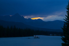 Storms End (Kristian Francke) Tags: storm sky sun sunset light yellow blue gold orange pentax tamron banff canada alberta outdoors landscape thunder athabasca river jasper icefield parkway mountain mountains rocky rockies