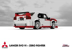 Mitsubishi Lancer EVO VI - Zero Fighter Edition (lego911) Tags: mitsubishi lancer evo vi evolution zero fighter sedan saloon 2000 2000s jdm japan japanese auto car moc model miniland lego lego911 ldd render cad rally racer ralliart awd 4x4 4wd turbo lugnuts challenge 106 exclusiveedition limited special exclusive edition povray