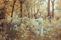 La Danseuse d'Ether (Raphaelle Monvoisin) Tags: autumn yellow flowers forest sun light summer gold golden dance wood shaman dancer dancing fantasy ether tribal danse fireflies