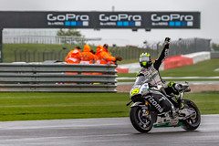 Pole! (Chris O'Brien Photography) Tags: uk motogp honda silverstone motorcycle calcrutchlow motorbike racing poleposition celebrate 35 lcrhonda canon 5dmarkiii motorsport colour rider track corner bike sport