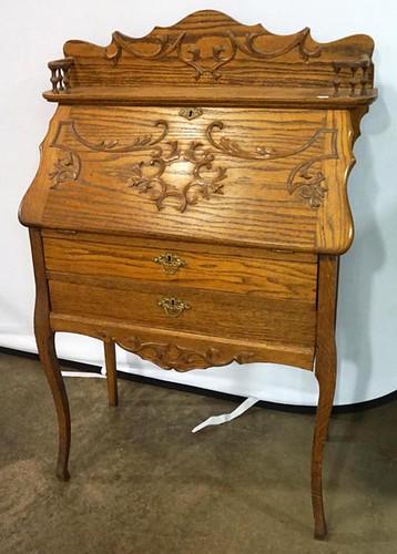 Oak Fall Front Desk w/ Applied Carvings ($392.00)