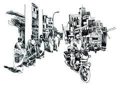 Street Motor cycle (Thisisanwar) Tags: anwar artist cartoonist illustrator india hyderabad nandyal noonepalli telugucartoonist teluguillustrator telugubomma bapu bali chandra gopi mohan sketchingartist linedrawing sketchbook howtodraw