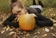 Fall For All (obsequies) Tags: fall autumn harvest september seasons colorful colourful halloween pumpkin pumpkins homegrown gardener goth gothic grunge punk zombie horror portrait skeleton bones boots fashion leaves bokeh orange floral creep silly nature trees country life rural canada
