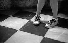 # (Johuhe) Tags: legs shoes squares floor feet tiles black white monochrome bw analog film leica m2 kodak tmax 400 xtol epson v500