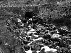 Mountain Bridge and Stream (wiremoons) Tags: bridge blackandwhite bw wales river landscape brecon brynamman wiremoons