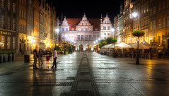 Long Market at Night (Lukas Larsed) Tags: city travel people architecture night boulevard poland wideangle softfocus canon5d canonef1740mmf4lusm hdr gdansk danzig gdask travelphotography greengate longlane dugitarg pomorskie langermarkt langgasse gdusk grnestor dlugastreet pomeranianvoivodeship longmarket zielonabrama bramazielona wojewdztwopomorskie canon5dmki canon5dclassic ulicaduga flickrunitedaward koggentor cityandarchitecture