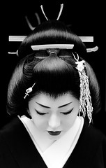 New Year in Kyoto, Japan  (momoyama) Tags: new travel winter portrait people blackandwhite bw woman black flower girl beautiful beauty face japan canon photography japanese photo costume kyoto asia traditional culture 85mm maiko geiko geis