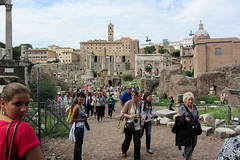 Some of Our Tour Group (Jocey K) Tags: trees sky people italy rome building architecture fence ruins romanforum architecturalfragments cosmostour6330
