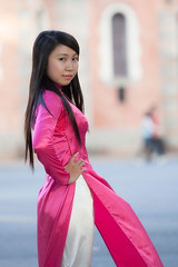 Ti-369 (panerai87) Tags: pink church vietnam saigon traditionaldress tien aodai