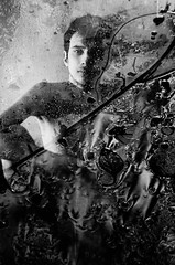 behind the mirror (Vasilis Amir) Tags: boy portrait blackandwhite male water glass monochrome leaves rain drops doubleexposure  mygearandme vasilisamir ofportalsandparallelworlds