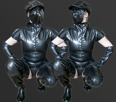 Black (klepptomanie) Tags: mask bondage bdsm latex wellies waders rubberboots gummistiefel domina maske latexmask latexshirt