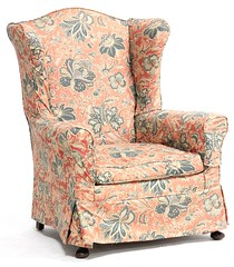 36. Near Pair of Queen Anne Style Wing Back Chairs