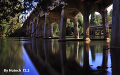 Under the Causeway Bridge in 10 Seconds II_edited-1 (Hutech_f2.2 (I'm staying too!)) Tags: bridge light summer art creek reflections landscape nikon long exposure australia lincoln stillness causeway wodonga 2013