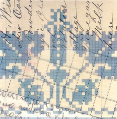 pattern- blue (kurberry) Tags: collage crossstitch ephemera tissuepaper tracingpaper magazinepages bookpages vintageephemera bookbindingteam