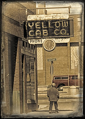 CABBY (FotoEdge) Tags: red orange clock colors sign yellow ancient flickr downtown neon glow time cab taxi memories rusty stjoseph headlights mo missouri handpainted co hanging wired neonsign autos burst yellows hacks crusty explode serenade drivers saintjoseph relic roadway cabby remnant taxistand stjoe dispatcher cabstand fotoedge bobtravaglione midwesternserenade