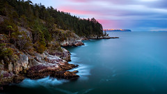 Juniper Point (Alexis Birkill Photography) Tags: longexposure canada water vancouver landscape rocks waves britishcolumbia cliffs westvancouver lighthousepark juniperpoint mistywater