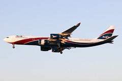 CS-TFX Arik Air A345 at Heathrow EGLL (AeroPics) Tags: sunset heathrow lagos airbus nigeria ara lhr heathrowairport goldenlight egll hifly a345 airbusa340500 27r londonheathrowairport lastlightoftheday arikair runway27r cstfx