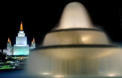 The Mormon Temple of the Oakland hills with water fountain at night, California (Damon Tighe) Tags: california ca church water fountain architecture night temple oakland long exposure day mckay smooth saints harold hills glowing lds burton latter glows