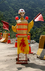 Taiwan Traffic Dummy (cowyeow) Tags: road street sexy mannequin stain strange statue warning asian weird clothing crazy funny asia doll dummies mannequins dolls traffic humor chinese bad taiwan fake funky flags wrong odd dummy bizarre taiwanese reflectors lalamountain funnychina funnytaiwan