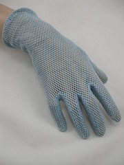 "1950s Eggshell Blue Crochet Gloves • <a style=""font-size:0.8em;"" href=""http://www.flickr.com/photos/92035948@N03/8548591793/"" target=""_blank"">View on Flickr</a>"