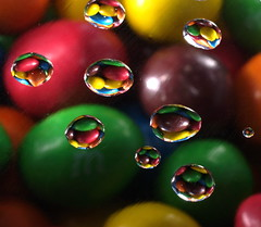 M&M Waterdrops (Kerry711) Tags: macro water reflections lens drops colours sony peanuts sweets mm alpha tamron 90mm multi a77