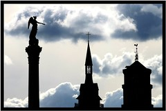 Trinity (Wackelaugen) Tags: blue sky black church silhouette angel canon germany photography eos photo europe christ stuttgart jesus trinity stiftskirche 500d