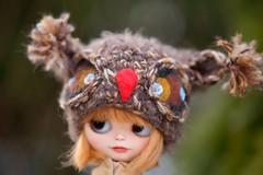Blythe owl brown hat