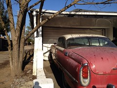 Montclair (misterbigidea) Tags: city light red urban tree classic ford hardtop 1955 beauty vintage landscape living alley rust fifties mercury garage tail scenic rusty driveway faded hotwheels americana parked 50s roadside montclair stockton crusty redwhiteblue twotone atrest