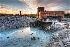 Alien Landscape (Martyn.Smith.) Tags: abandoned sunrise lens dawn angle decay exploring alien wide sigma pools worlds lime 1020mm derelict lunar crusty hdr decaying digger urbanexploring urbex photomatix limeworks rustymachinery industrialdecline limequarry