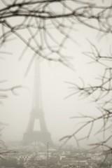 Eiffel Tower Through the Fog