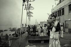 Prayer in Dasashwamedh ghat, Varanasi (me suprakash) Tags: india blackwhite prayer earlymorning varanasi benaras uttarpradesh peoplephotography spiritofphotography ghatsofvaranasi