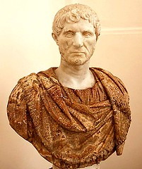 Bust of Lucius Junius Brutus (545 - 509 BC), the legendary founder of the Roman Republic, white marble sculpture,  late 1st  early 2nd century AD (mike catalonian) Tags: 1stcenturyad portrait male sculpture statue bust republica marcusjuniusbrutus ancientrome