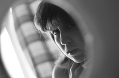 Reflecting - 26x50x50 (KangaRo) Tags: selfportrait black white blackandwhite monochrome window mirror reflection nikon 50mm 50x50x50 50x50x50challenge