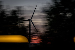 Nearly Night Trip (NathalieSt) Tags: canon canong5x coucherdesoleil sunset train travel trip voyage olienne oliennes windturbine windturbines tgv