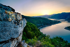 The Turn at Sunset (Manol Z. Manolov) Tags: landscape sunset nature mountains sky water horizon scenery outdoors bulgaria europe travel kardzhali reservoir
