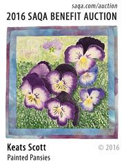 Painted Pansies by Keats Scott (saqaart) Tags: artquilts saqa fiberart quilts textiles artwork stitched layered flowers flower floral pansies