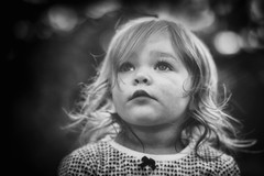 Little Gracie. (Explore 10/8/2016) (markfly1) Tags: grace daughter black white monochrome version soft focus dreamy bokek noisy image vintage feel heavy vignette cute nikon d750