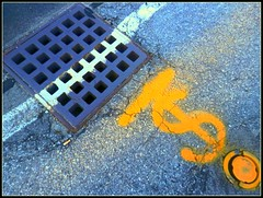 Sewer &  Dollar Sign - Photo by STEVEN CHATEAUNEUF - August 7, 2016 - A Little Bit Extra Saturation Was Added (snc145) Tags: outdoor street sewer dollarsign saturation photo abstract gray blue orange white cigarettebutt august72016 stevenchateauneuf bright bold vivid autofocus thisphotorocks flickrunitedaward