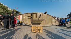 Tank in Trafalgar Square (DSC00367-Edit) (Michael.Lee.Pics.NYC) Tags: london england unitedkingdom trafalagarsquare tank markiv replica wwi fisheye shadows silhouette sony a7rm2 rokinon12mmf28
