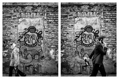 Why don't you ever look at me? (francescomonacco) Tags: vilnius lithunia capital fuji fujifilm x20 street streetphotography graffiti wall way blackandwhite bw city daylight old travel