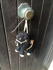 Black Horse (Munki Munki) Tags: jamesherriot alfwight centenary celebrating yarnbombers knitting thirsk nyorks allcreaturesgreatandsmall doorknob knob suspended hanging horsey blackhorse lloyds