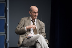Law professor Patrick Weil gestures during the discussion.