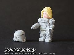Asteroid Kit 2 (SHAPEWAYS BLACKOGRAPHIC) Tags: metroid nes snes retrogaming lego custom minifigure minifigures samus samusaran