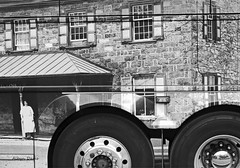 wheels (albyn.davis) Tags: blackandwhite photograph wheels bus windows shapes round people