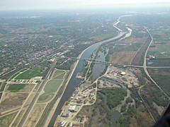 The Sanitary & Ship Canal & the Des Plaines River (debstromquist) Tags: flying illinois spring canals il rivers fromthewindowseat southwestairlines canonpowershot desplainesriver fromtheairplanewindow lockportprairienaturepreserve cresthill willcounty illinoiswaterway throughtheplanewindow sanitaryshipcanal anythingchicagoland descendingintomidwayairportairspace southlockport discoveringillinois illinoislandoflincoln