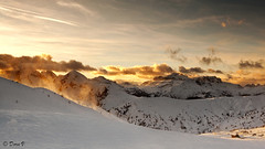 New Day (Dora Joey) Tags: light sun mountain snow cold clouds montagne tramonto nuvole wind cielo neve colori dolomites dolomiti passogiau bestcapturesaoi