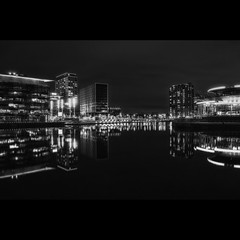 Quays Theatre (Mr sAg) Tags: blackandwhite skyline architecture night buildings reflections river mono interestingness interesting nocturnal salfordquays monotone explore salford sag simonharrison buildingsatnight explored mediacity mrsag mediacityatnight