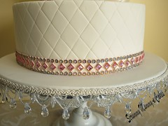 Fantasy Flower Wedding Cake 5 (Scrummy Mummy's Cakes) Tags: white weddingcake twotier fantasyflower pearlpink jeweltrim